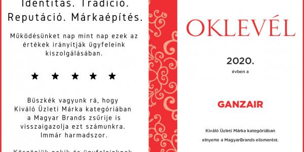 Idén is elnyerte a Magyar Brands Kiváló Üzleti Márka minősítést a Ganzair!