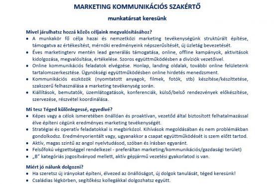 Marketing kommunikációs szakértő állás
